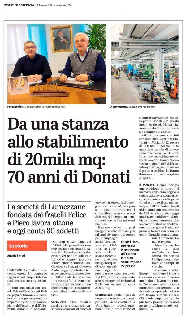 Donati spa articolo Giornale di Brescia